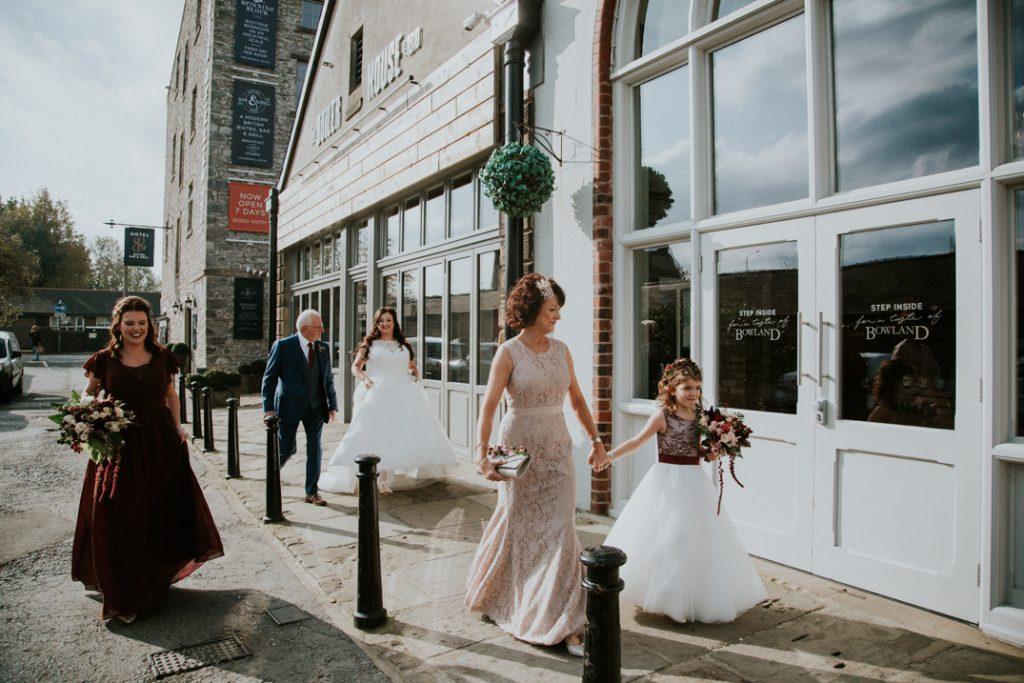 Bridal part walk past the bowland brewery at Holmes Mill