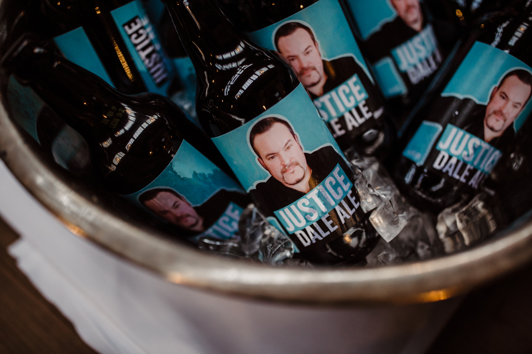 Holmes Mill wedding Photography Bucket of beer with personalised photo of the grooms face