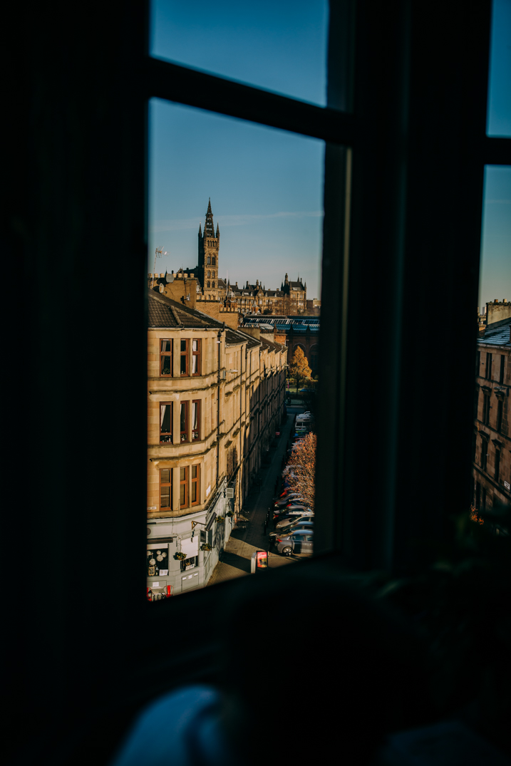 view of the street from Glasgow flat