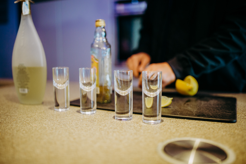 shot glasses lined up